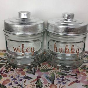 Wifey & Hubby Glass storage containers